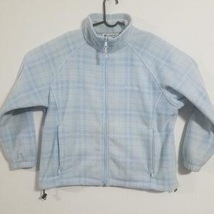 Columbia Womens 1X Blue White Zip Up Fleece Jacket